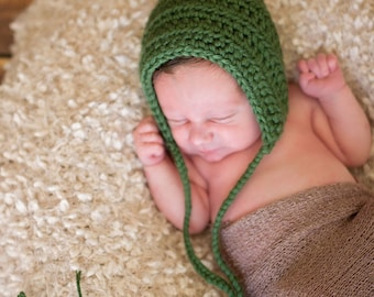Newborn Elf Hat Newborn Pixie Hat Pixie Elf Hat Newborn Baby Hat Baby Girl Hat Baby Boy Hat Sage Green Newborn Photo Prop Photography Prop