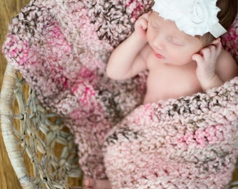 """Newborn Photo Prop Girl Photography Prop Newborns Baby Newborn Girl Baby Blanket Baby Girl Blanket Pink Baby Blanket Brown Chunky 20"""" x 14"""""""