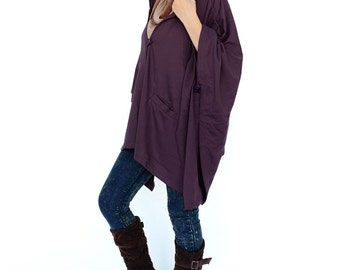 NO.163 Plum Cotton-Blend Jersey Cover Me Hoodie Poncho