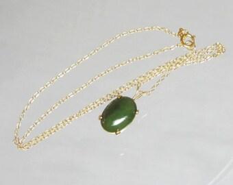 Natural Nephrite Jade Pendant Necklace 14x10mm Set In 14Kt Gold Filled or Sterling Silver