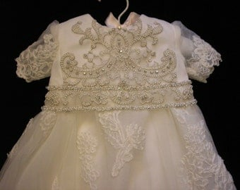 Valerie's Custom Christening Gown and Bonnet conversion from her mother's Wedding Dress