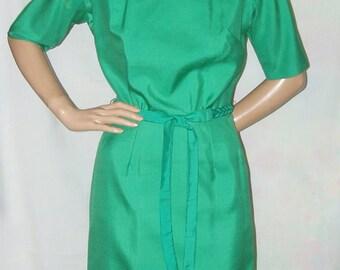 Vintage 60s Green Silk Shantung Sheath Dress with Braided Belt