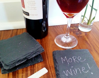 Slate Coasters with Soapstone Chalk (Set of 4) Modern, Rustic, Man Cave, Under 20