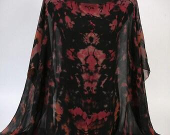 SALE • Use 40% Off Coupon: HOLIDAY40 • Silk Hand Dyed Chiffon Poncho in Black, Pink, Salmon Shibori. Ready to ship.
