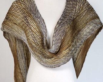 Gold Pleated Shibori Silk Shawl Arashi Gray Gold Silk Scarf Etra Long Scarf.