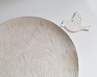 Eco Rustic Lace Big Ivory Ceramic Wedding Platter for wedding party or everyday serving