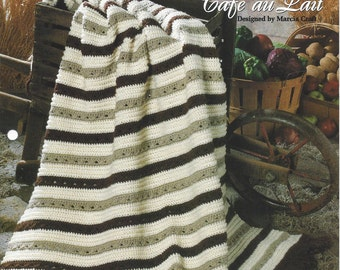 Cafe au Lait - Afghan Collector's Series - The Needlecraft Shop - Crochet Stripe Afghan Pattern, Home Decor, Blanket, Bedspread, Sofa Throw