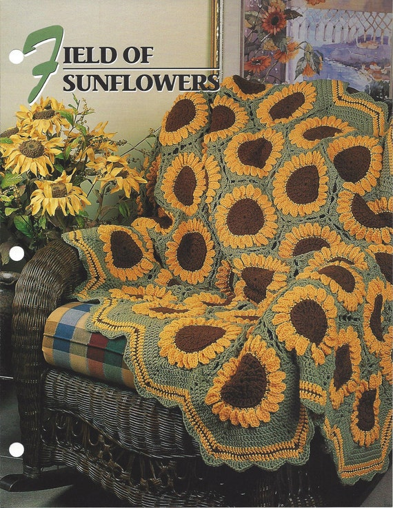 Field Of Sunflowers Annies Crochet Quilt & Afghan