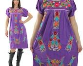 Mexican dress Oaxacan dress Purple embroidered dress Floral embroidered dress Boho dress Hippie dress Festival dress Loose fit dress M