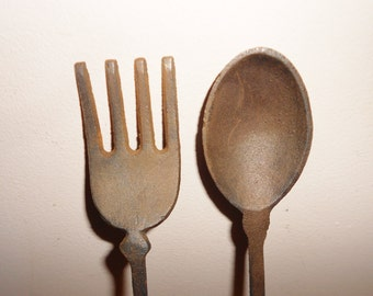 Cast Iron utensils Fork and ladle spoon large 1960s vintage kitchen TAIWAN Free USA Shipping