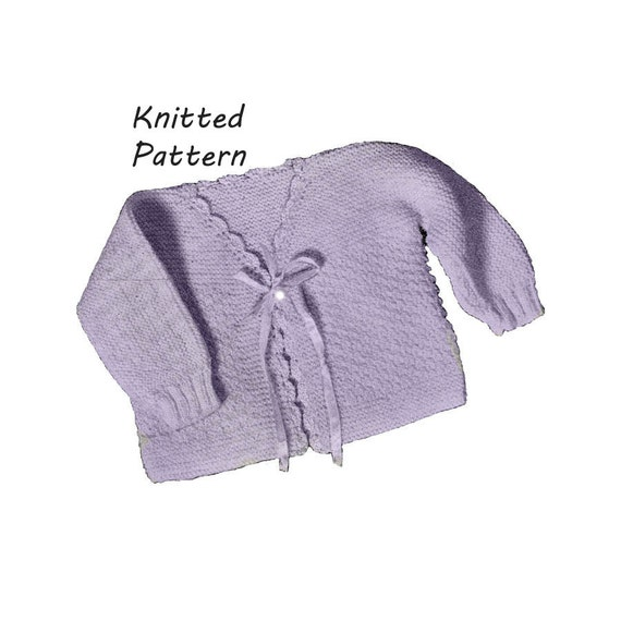 Infant Double Moss Stitch Sweater Knitting Pattern Vintage