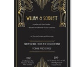 Great Gatsby Black and Gold Wedding Invitation Art Deco Hollywood Style, Engagement Party, Birthday Party, 1920's Theme, Peacocks,