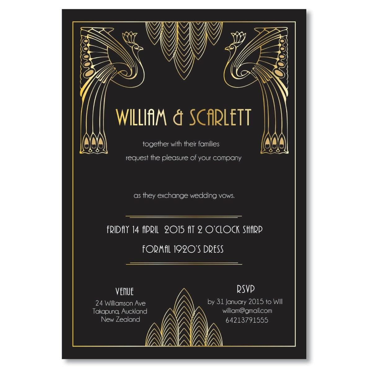 Great Gatsby Wedding Invites: Great Gatsby Wedding Invitation Roaring 20's Party Art