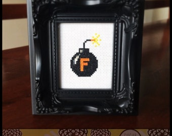 Cheeky F Bomb Cross Stitch Pattern (Printable PDF) - Immediate Download from Etsy - Funny Humor