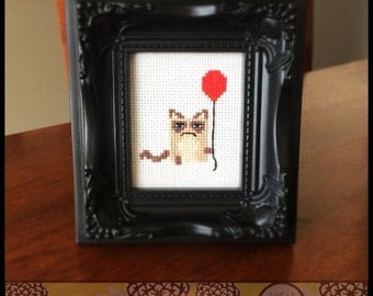Grumpy Cat with Balloon Cross Stitch Pattern - Kawaii Version  ( Printable PDF ) - Immediate Download from Etsy - Tarder Sauce Cute Kitten