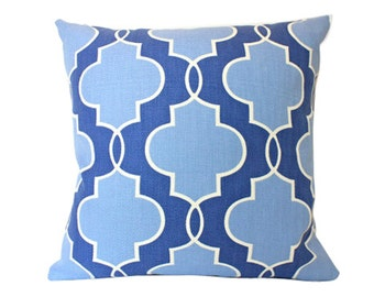 Blue Pillow Cover with Fabric on Both Sides, Geometric Pattern