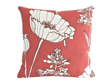 Faded Brick Red Poppyfield Kravet Linen Pillow Cover