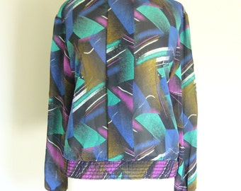 Vintage BOLD PRINTED BLOUSE/Popover/Size Small-Medium-Large