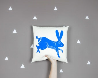 Handprinted Holä the Hare in Sky Blue Cushion Cover