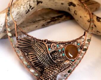 Copper Eagle Bird Arty Bohemian Sculpture Necklace