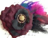 Gothic Crimson feather Prom hair accessory, Romantic Rose Fascinator Antique Button original unique hair clip