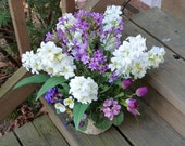 Birch vase spring floral arrangement Mother's Day tabletop hyacinth rustic flowers woodland floral ready to ship