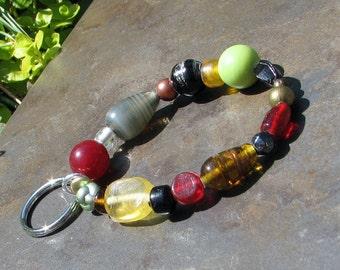 Bracelet Key Chain - Elastic Keychain - Bracelet Lanyard - Beaded Key Chain - Wrist Key Chain Key Bracelet - Key Holder Multicolored