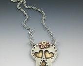 Skull Necklace, Sugar Skull Necklace, Silver Skull Necklace  RP0467