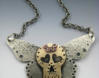 Skull Jewelry, Skull Necklace, Sugar Skull Necklace, Butterfly Necklace RP0466NK