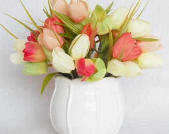 Silk Flower Arrangement, Coral Crocus, White Crocus, Green Crocus, White Vase, Artificial Flower Arrangement, Silk Floral Arrangement, Decor