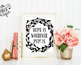 INSTANT DOWNLOAD, Home is Wherever Mom Is, Printable, No. 348