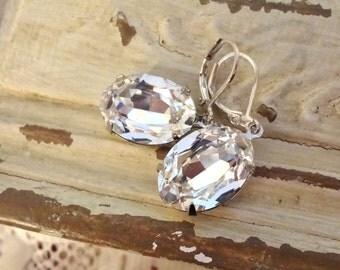 SALE 18x13 Swarovski Rhinestone Earrings, Estate Style, Vintage Style, Rhinestone Bridal Earrings, Bridal Jewelry, Bertha Louise Designs