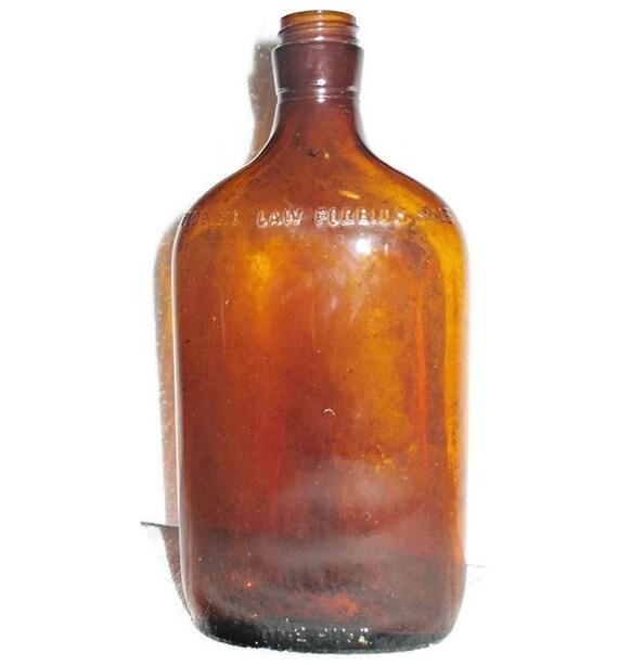 Old Vintage Brown Amber Glass Liquor Bottle One Pint Flask