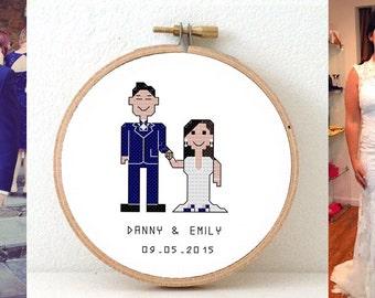 Custom wedding cross stitch portrait pattern. Personalized wedding gift. Personalised wedding gift. Custom embroidery pattern.