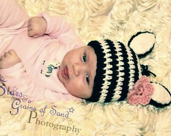 Zebra Beanie, Zebra Costume, Zebra Baby Shower, Zebra Gift, Zebra Photo Prop, Zebra Crochet Photo Prop