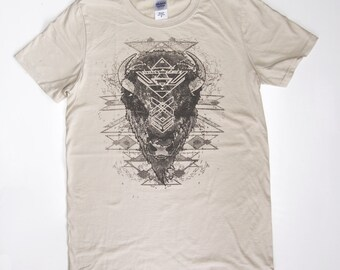 Buffalo Spirit Portrait - Printed in Bark Ash on a Sand Cream Colored SoftStyle Cotton Tshirt