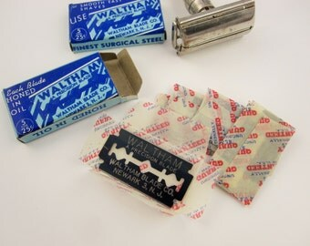 Two Packages of Five Blades Each - Waltham Blade Co. Newark 3, N.J. - Vintage WWII Double Edge Razor Blades - New in Their Wrappers