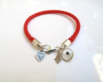 Hamsa evil eye 925 sterling silver and red leather bracelet  kabbalah red silver charms bracelet italian red leather multi charms