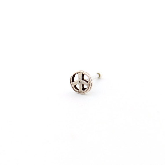 Silver nose stud Peace sign design nose ring silver nose stud ring (N-05)