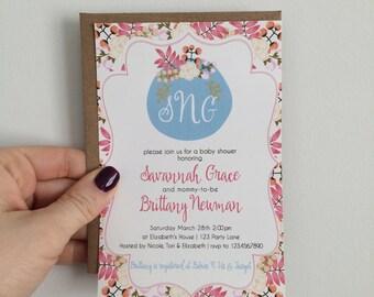 Monogram Baby Shower Invitation, Monogram Bridal Shower Invitation, Floral Design