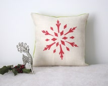 Red Snowflake Pillow Cover, Holiday Pillow Covers, Burlap Winter Pillow, Christmas Decorations