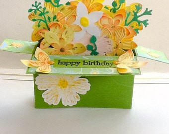 Hand made cards: Pop Up box card -  Mothers Day - Birthday - Anniversary - Flowers - Flower card - Happy - Thank you - Congratulations