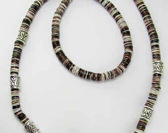 Violet Oyster Heishi Beads Fish and Hook Necklace Unisex