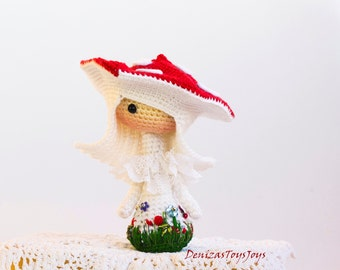 Crochet Amanita muscaria Doll.  - pdf crochet pattern. Tanoshi series toy.