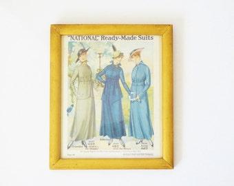Vintage 1916 Gold Wood Framed Fashion Plate / Print