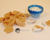 Chips and dip for dolls - 1:6 scale polymer clay play food for Monster High, Ever After, Bratz, etc.