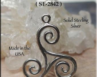 Sterling Silver Triskelion Necklace, .925 Celtic Spiral, Triskele Pendant, Triskelion Pendant, Genuine Silver Celtic Jewelry - SE-2842