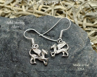 Sterling Silver Dragon Earrings, Small Griffin Earrings - Fantasy Gryphon Jewelry SE-2046-FEW