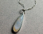 White Drusy Geode Pendant in Sterling Silver