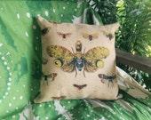 Natural History Pillow, Burlap Pillow, Cushion, Rustic, Decorative Throw Pillow, Woodlands, Accent Pillow